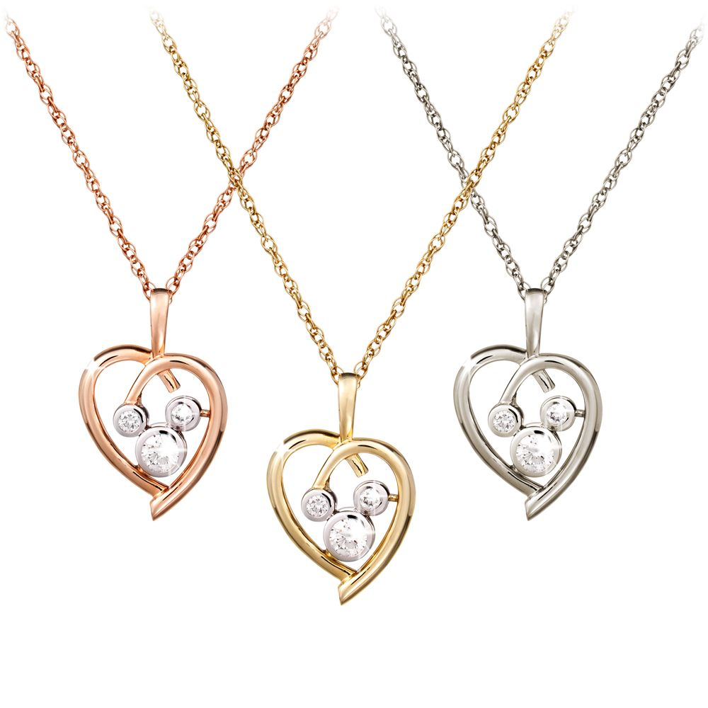 Diamond Heart Mickey Mouse Necklace  – 14K