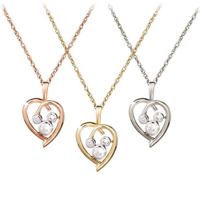 Diamond Heart Mickey Mouse Necklace  – 14K
