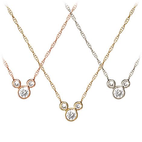Diamond Icon Mickey Mouse Necklace - 14K - Small