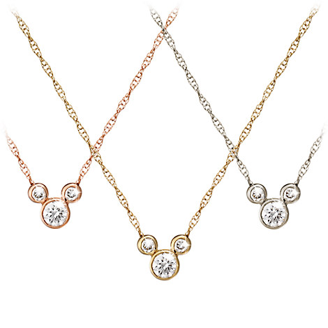 Mickey Mouse Diamond Necklace - 18K Gold - Small