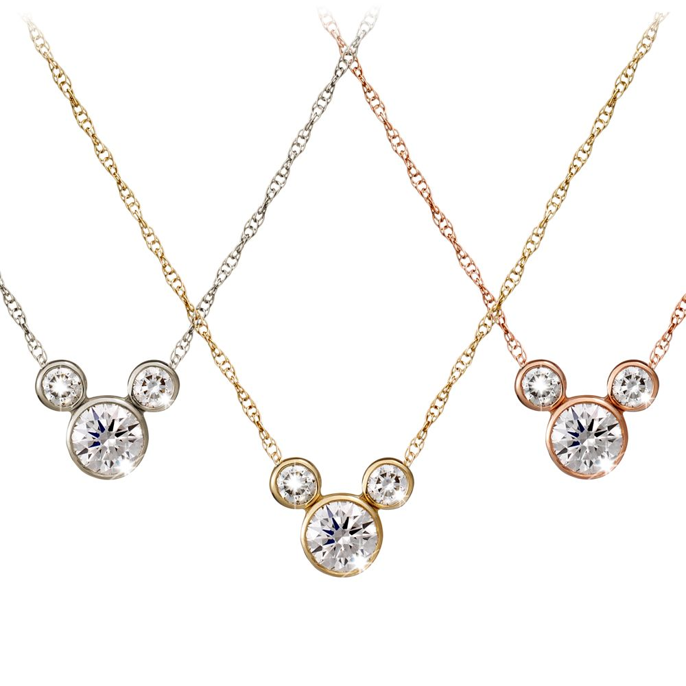 Diamond Mickey Mouse Icon Necklace – 14K