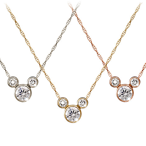 Diamond Mickey Mouse Icon Necklace - 14K