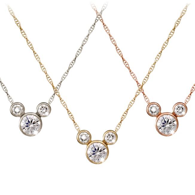 Diamond Mickey Mouse Icon Necklace – 14K