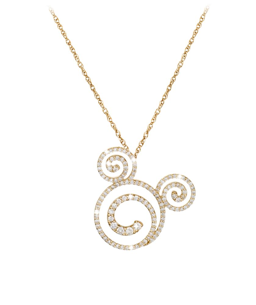 Diamond Swirl Mickey Mouse Necklace – 18K