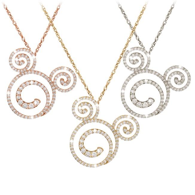 Diamond Swirl Mickey Mouse Necklace – 18K
