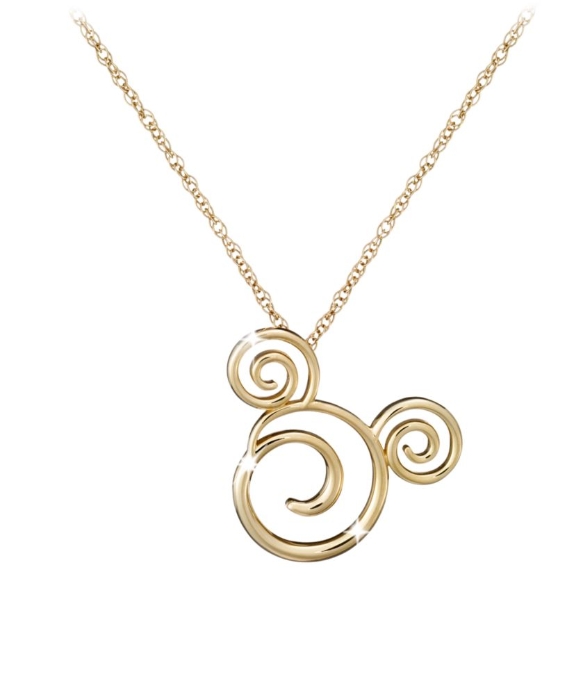 Gold Swirled Mickey Mouse Necklace – 18K