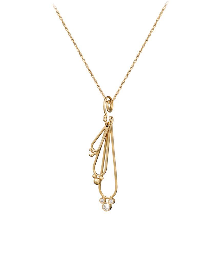 Diamond Mickey Mouse Three Drop Necklace – 14K