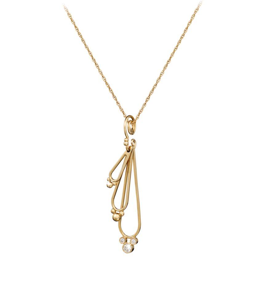 Diamond Mickey Mouse Three Drop Necklace – 18K