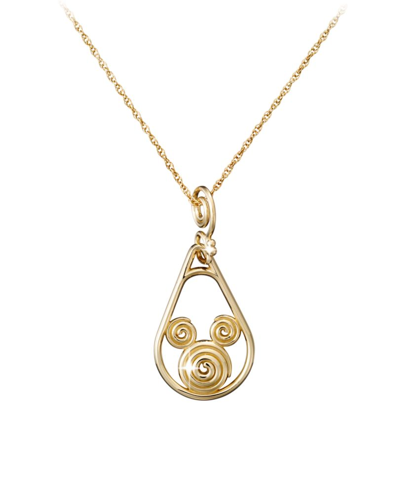 Mickey Mouse Gold Coiled Necklace – 14K