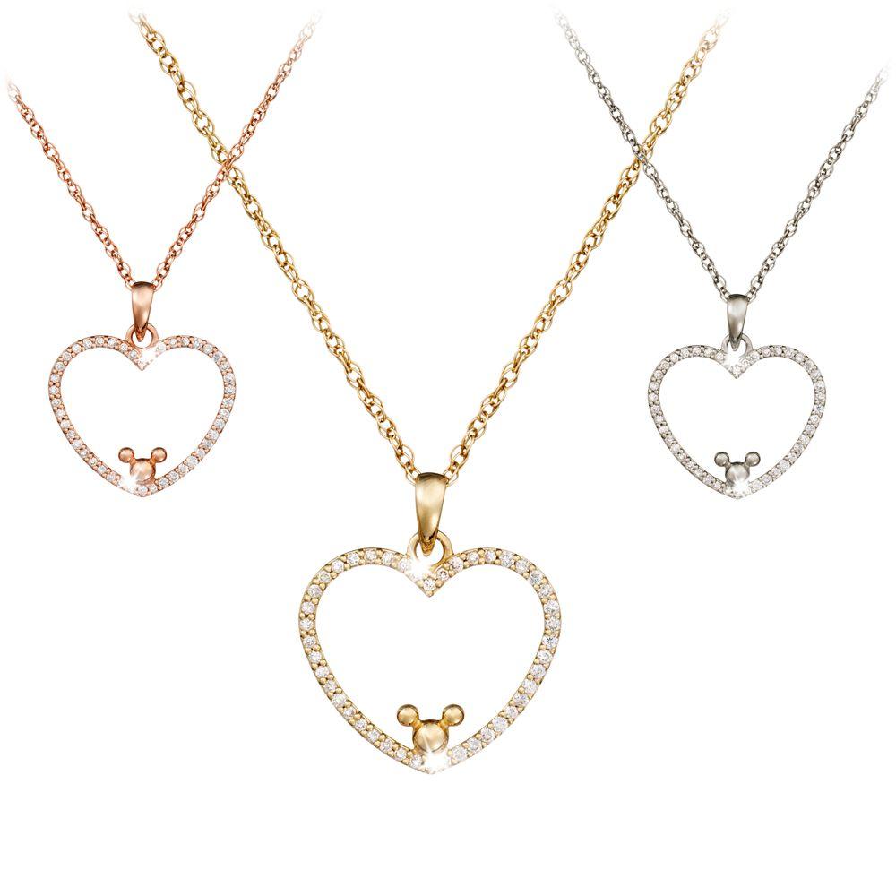 Diamond Heart Mickey Mouse Necklace  14K Official shopDisney