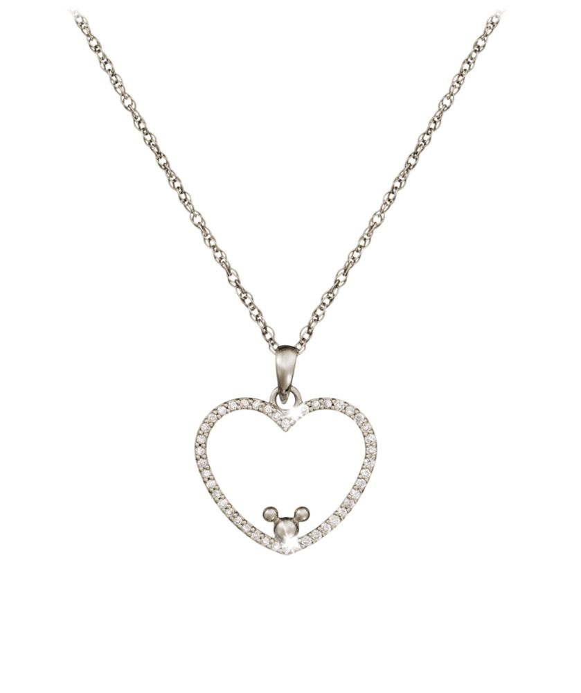 Diamond Heart Mickey Mouse Necklace – 18K