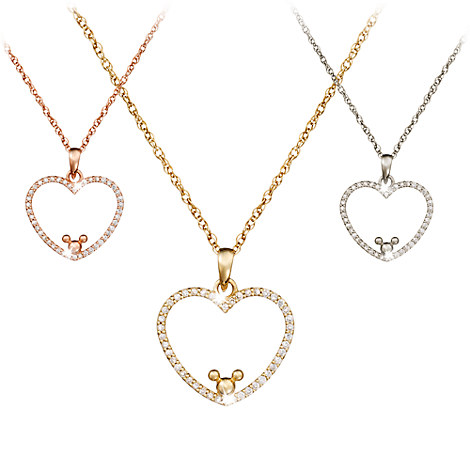 Diamond Heart Mickey Mouse Necklace - 18K