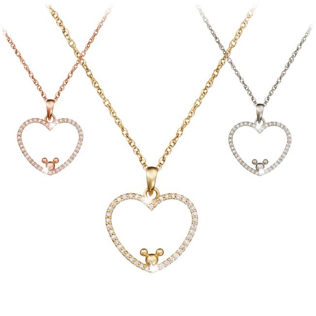 Diamond Heart Mickey Mouse Necklace – 18K