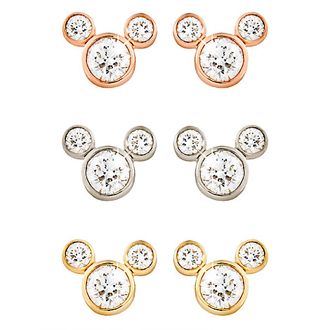 Diamond Mickey Mouse 14K Earrings - Small