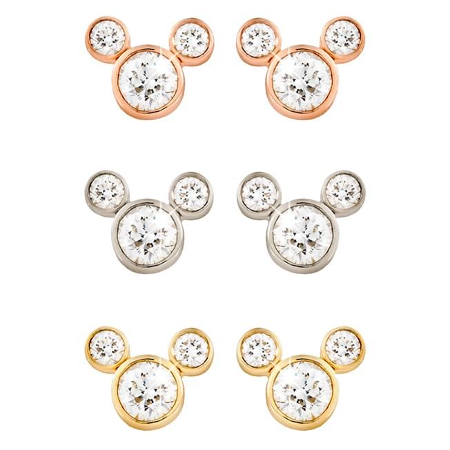 Diamond Mickey Mouse 14K Earrings – Small