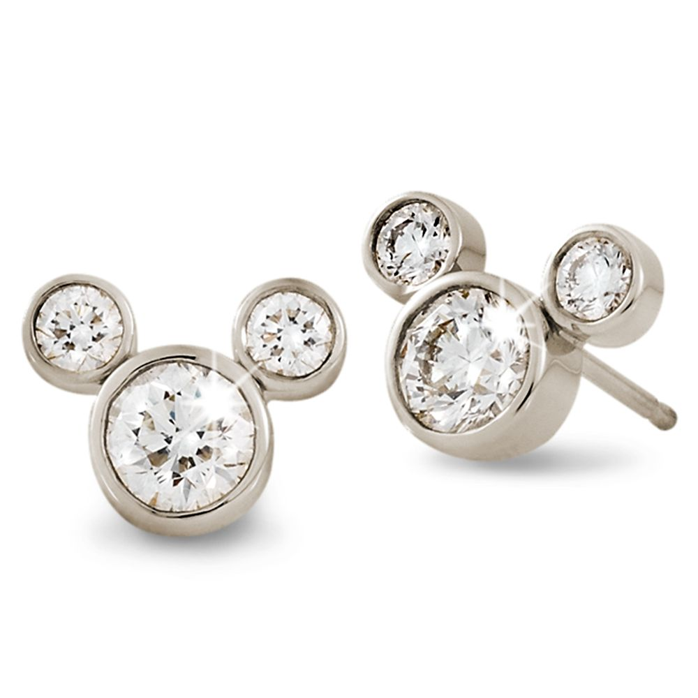 Diamond Mickey Mouse Earrings – Small – 18K