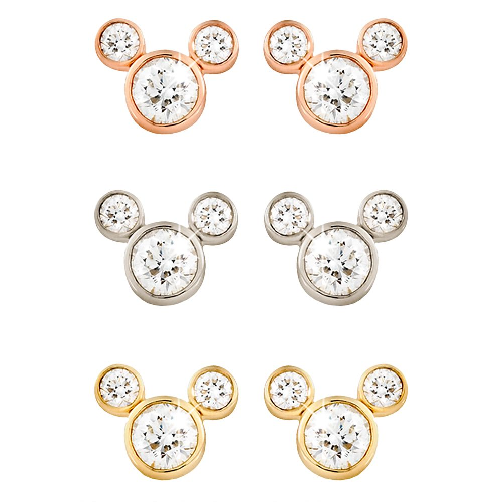 Diamond Mickey Mouse Earrings  Medium  18K Official shopDisney