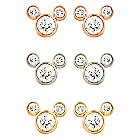 Diamond Stud Mickey Mouse Earrings - 18K - Large