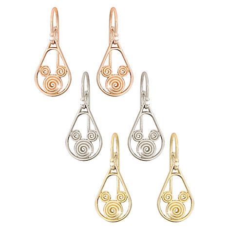 Mickey Mouse 14K Gold Swirl Earrings