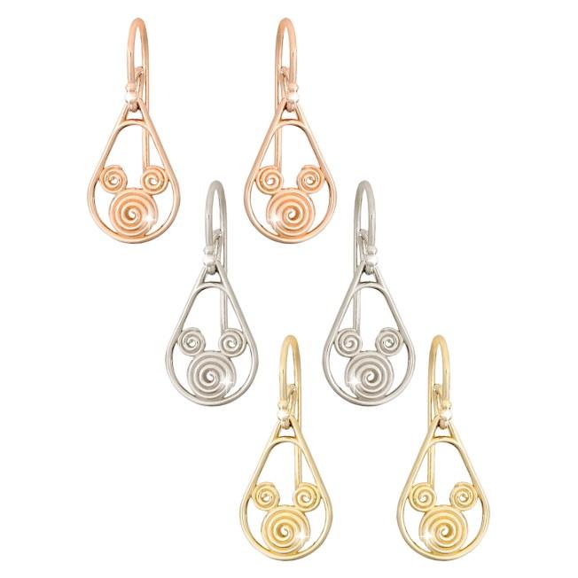 Gold Swirl Mickey Mouse Earrings – 18K