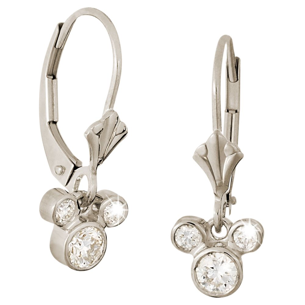 Diamond Dangle Icon Mickey Mouse Earrings – 14K
