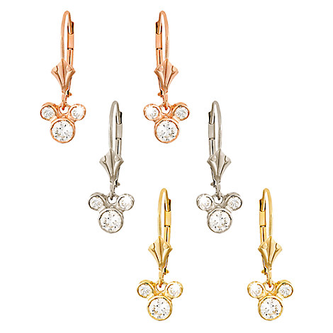 Diamond Dangle Icon Mickey Mouse Earrings - 14K