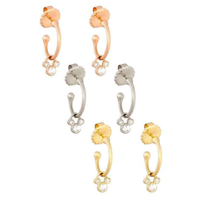 Diamond Mickey Mouse Hoop Slider Earrings – 14K