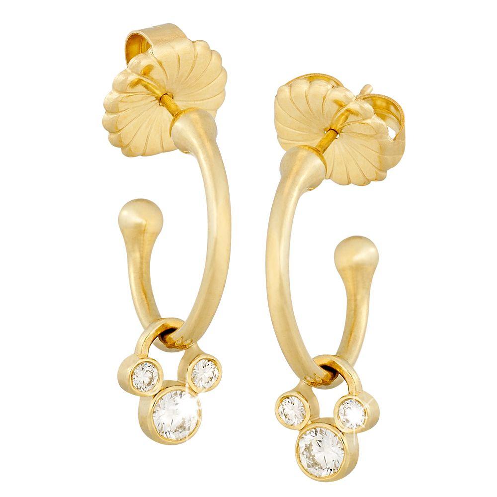 Diamond Hoop Slider Mickey Mouse Earrings – 18K