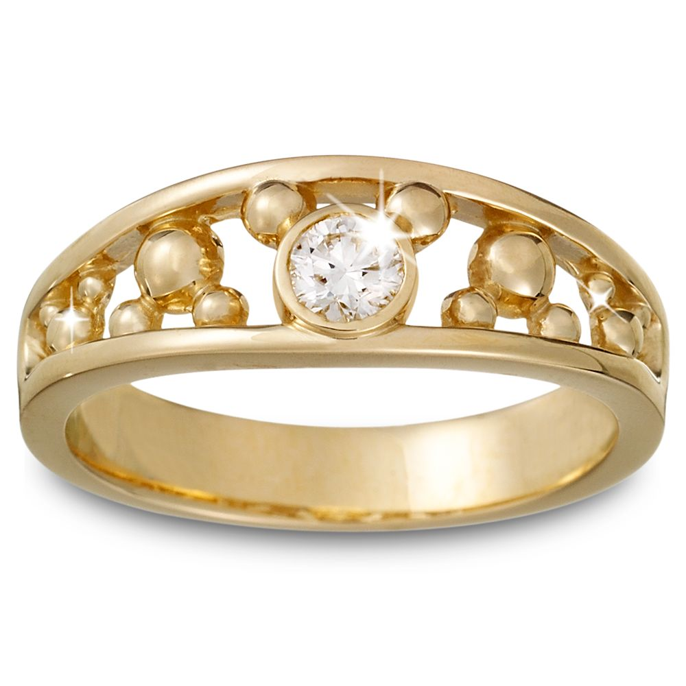 Diamond Mickey Mouse Icon Ring for Men  14K Yellow Gold Official shopDisney
