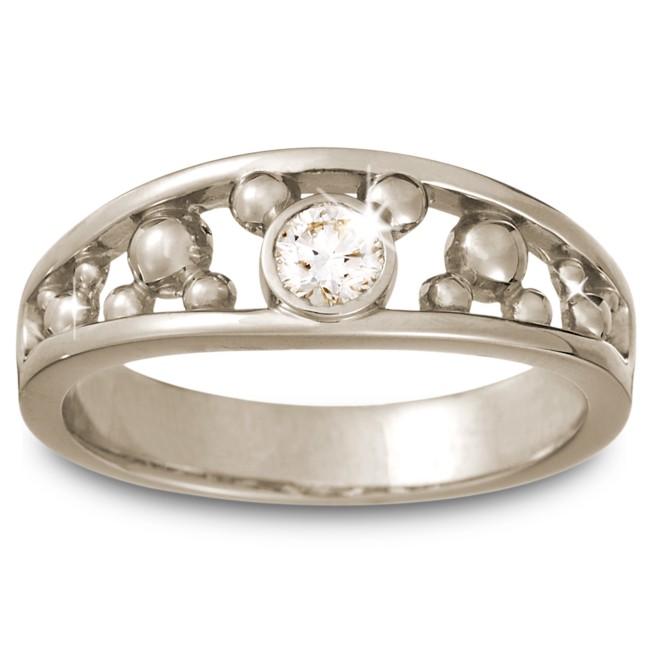 Diamond Mickey Mouse Icon Ring for Men – 14K White Gold