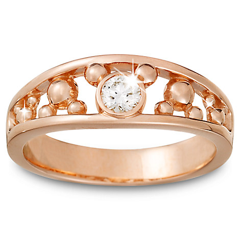 Diamond Mickey Mouse Icon Ring for Men - 14K Rose Gold