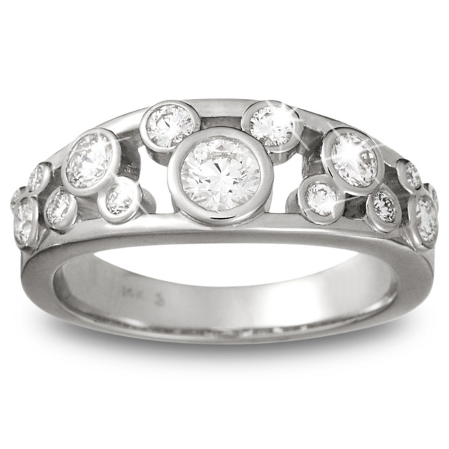Diamond Mickey Mouse Icon Ring for Women – 14K White Gold
