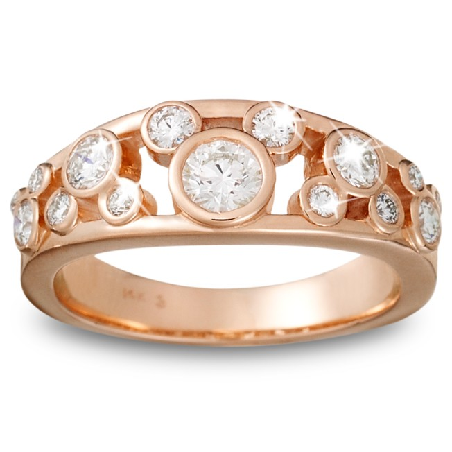 Diamond Icon Mickey Mouse Ring for Women – 14K Rose Gold