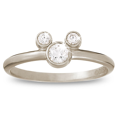 Diamond Mickey Mouse Petite Icon Ring - 14K White Gold