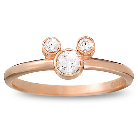 Diamond Petite Icon Mickey Mouse Ring - 14K Rose Gold