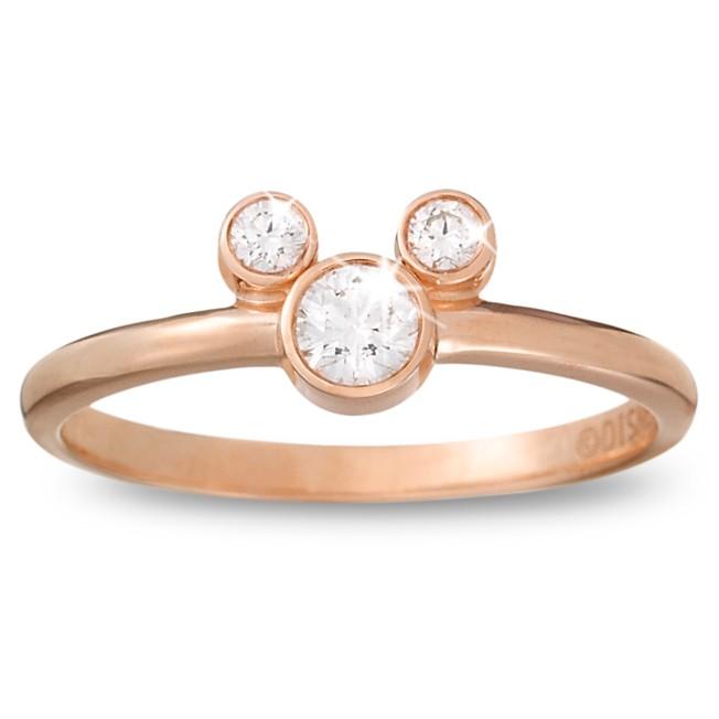 Diamond Petite Icon Mickey Mouse Ring – 14K Rose Gold