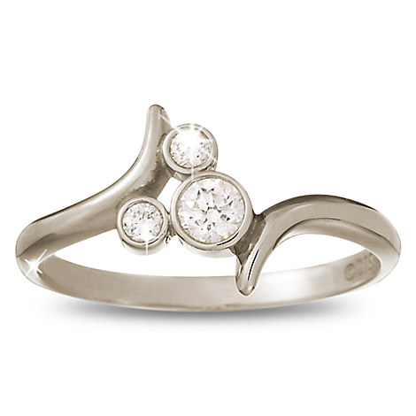 Diamond Mickey Mouse Bypass Ring - 14K White Gold