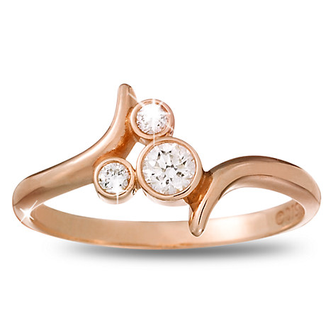 Diamond Mickey Mouse Icon Bypass Ring - 14K Rose Gold