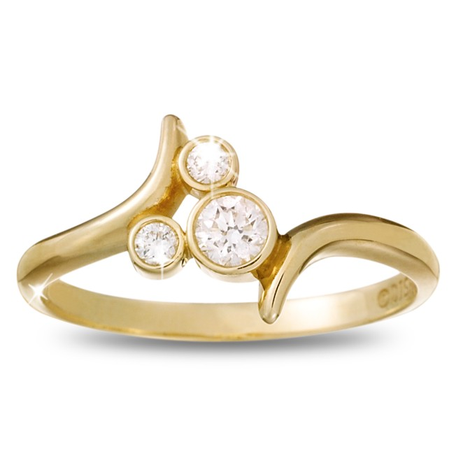 Diamond Mickey Mouse Icon Bypass Ring – 18K Yellow Gold
