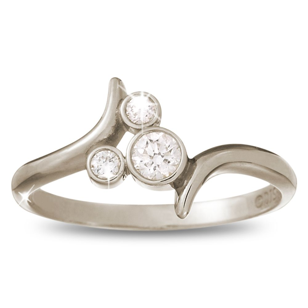 Diamond Mickey Mouse Icon Bypass Ring – 18K White Gold
