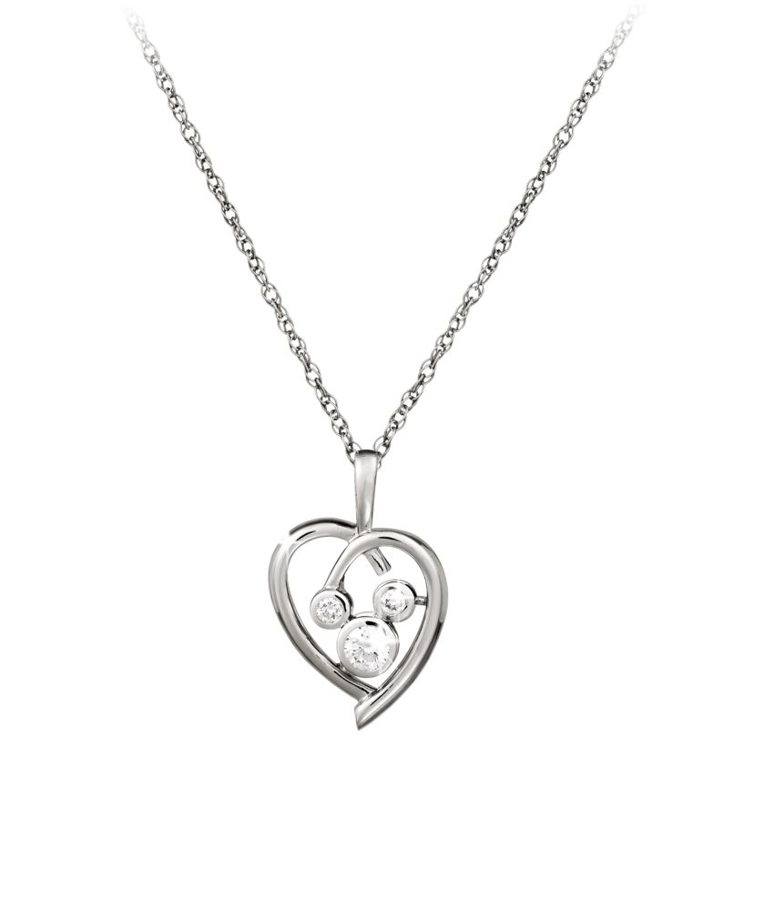 Mickey Mouse Necklace  Platinum Heart Official shopDisney
