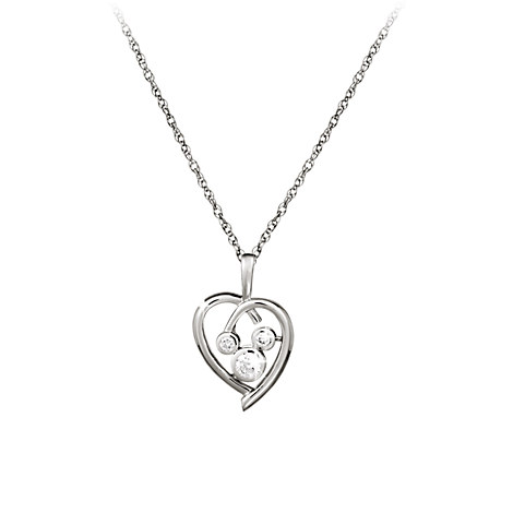 Mickey Mouse Necklace - Platinum Heart