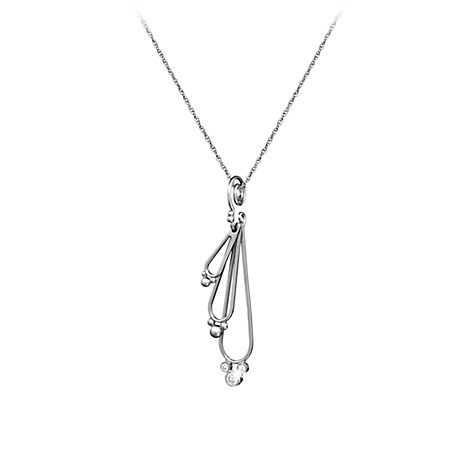 Mickey Mouse Necklace - Three Diamond Drop