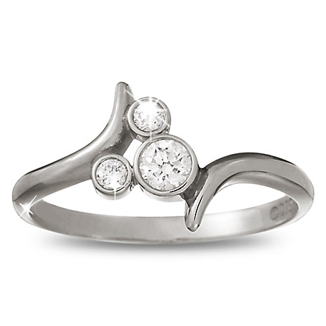 Mickey Mouse Tilted Icon Diamond Ring - Platinum