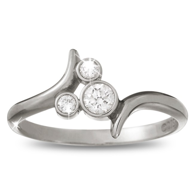 Mickey Mouse Tilted Icon Diamond Ring – Platinum
