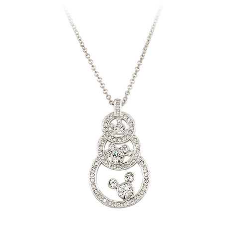 Mickey Mouse Three Circle Swarovski Crystal Necklace by Arribas