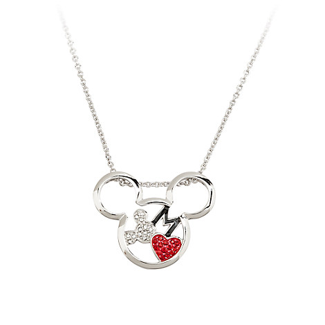 Mickey Mouse Necklace by Arribas - Mickey Head with Heart