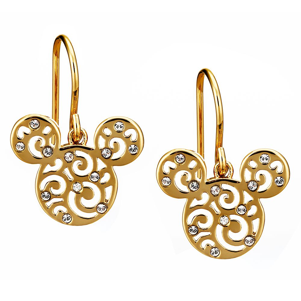 Mickey Mouse Filigree Icon Earrings by Arribas – Gold