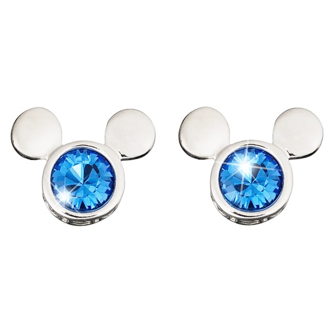 Mickey Mouse Icon Crystal Earrings by Arribas – Blue