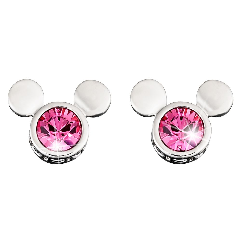 Mickey Mouse Icon Crystal Earrings by Arribas – Pink